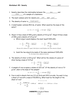 Worksheet #2: Density Name___________________ CHEMISTRY