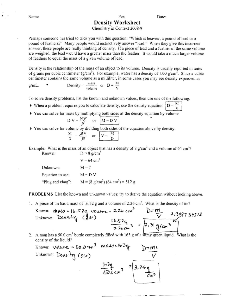 1Yl – Density Worksheet Answers