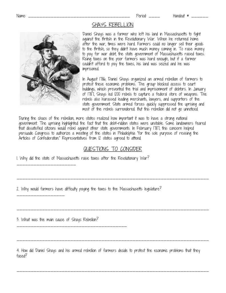 a report and assessment of the daniel shay rebellion Law & liberty a project of liberty daniel shay was an honored and decorated soldier during the american if shay's rebellion is supposed to justify the us.