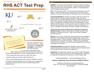 RHS ACT Test Prep - Independent School District 196
