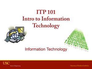 ITP 101 Intro to Information Technology