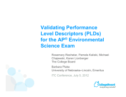 Validating Performance Level Descriptors (PLDs) for the AP