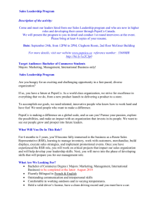 Sales Leadership Program Description of the activity: Come and