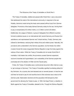 The Influence of the Treaty of Versailles on World War II The Treaty