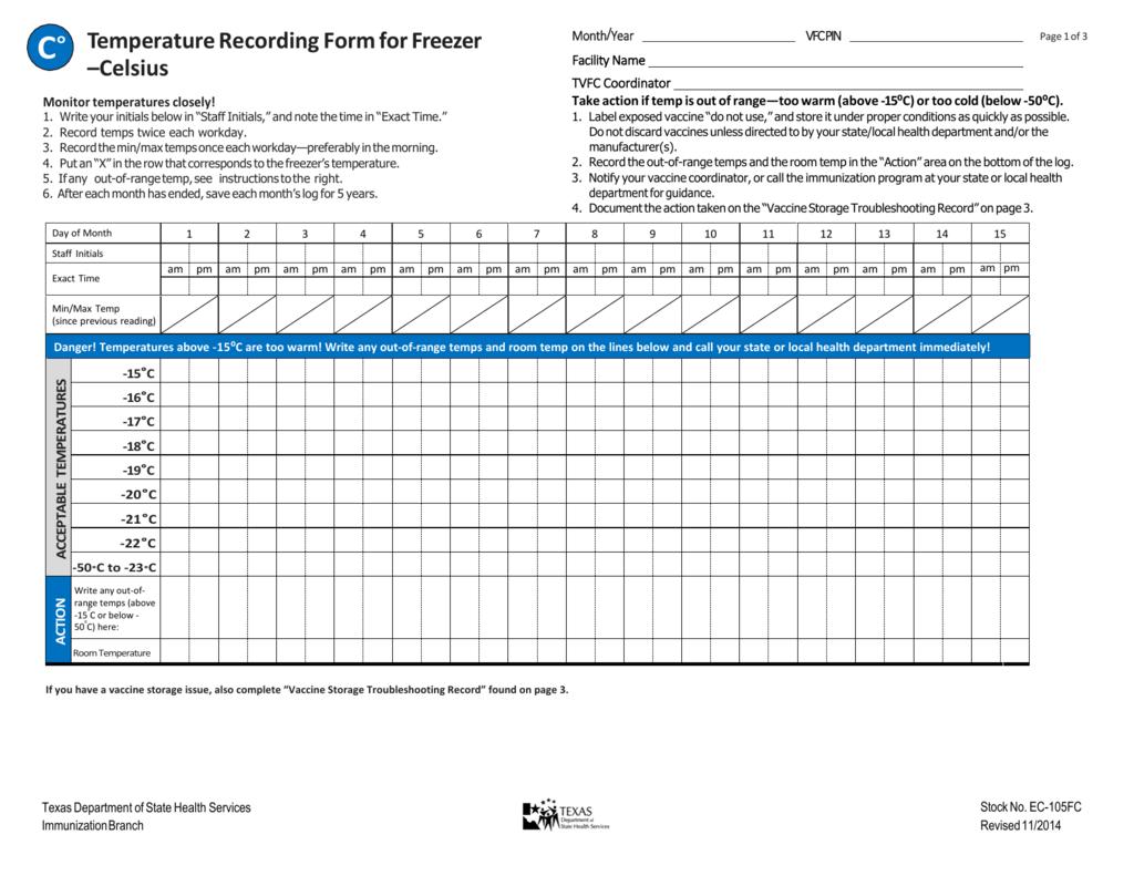 Monthly Refrigerator Temperature Log Sheet - Best