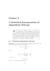 Chapter 8 A Statistical Interpretation of Algorithmic Entropy