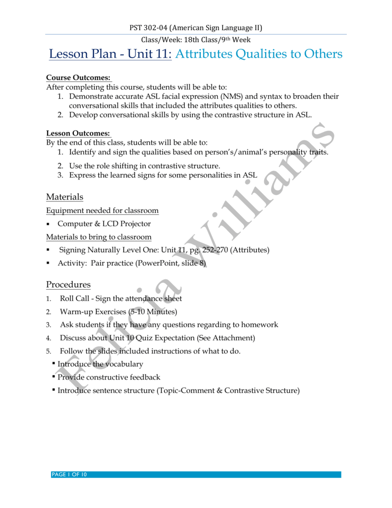 Lesson Plan - Unit 11: Attributes Qualities to Others