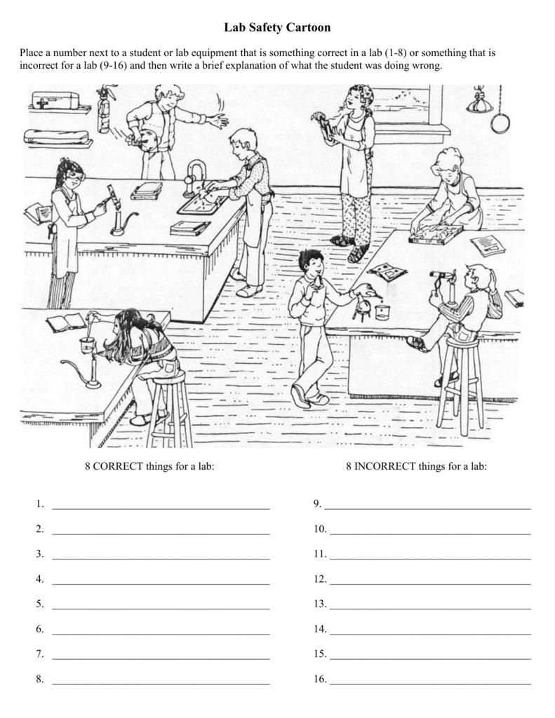 Worksheets Lab Safety Cartoon Worksheet lab safety cartoon wando high school