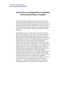 Declaration of Independence in Spanish: Retranslation Back to