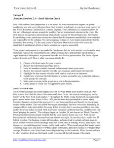 Lesson 2 Student Handout 2.3—Stock Market Crash