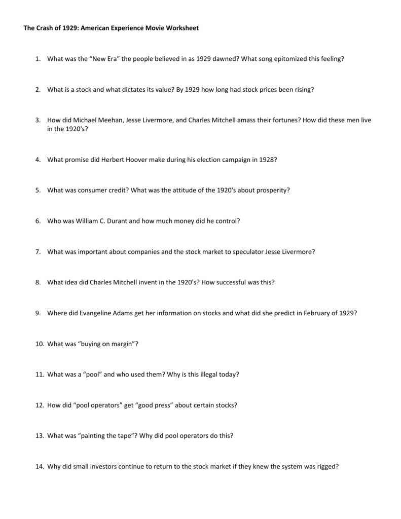 The Crash Of 1929 American Experience Movie Worksheet 1 What