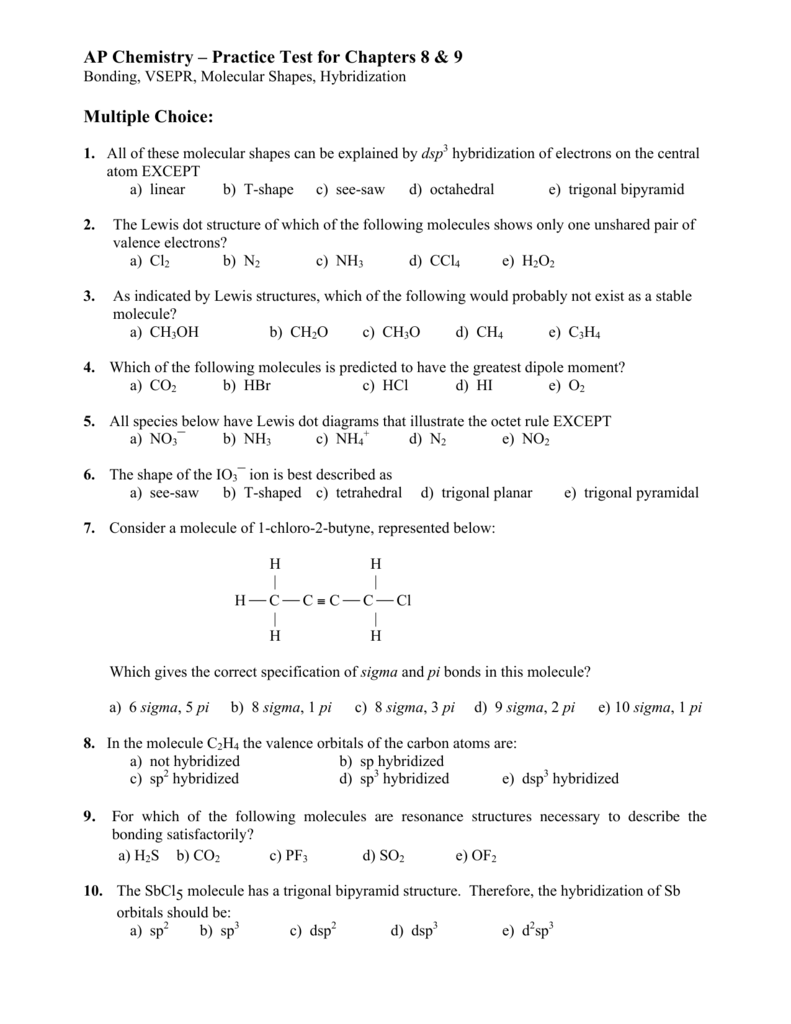 Practice Test Chapters 8 9