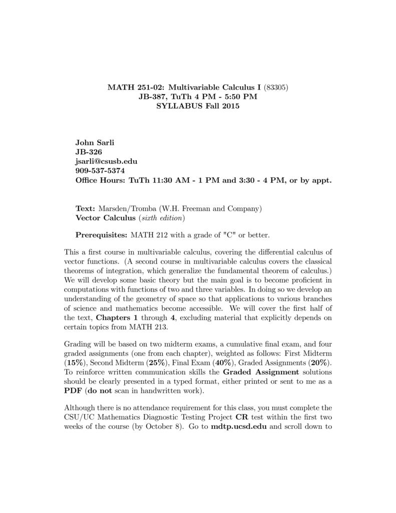 Vector marsden pdf tromba calculus