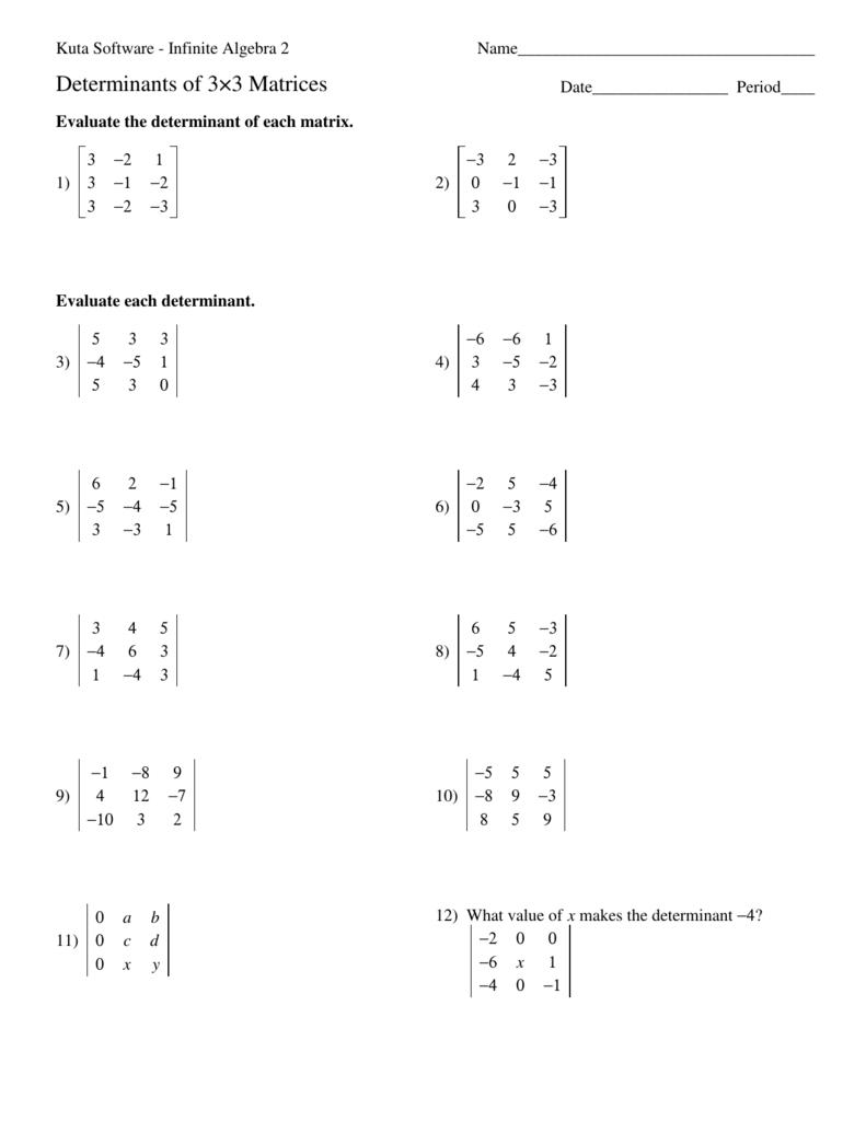 Determinants, 3x3