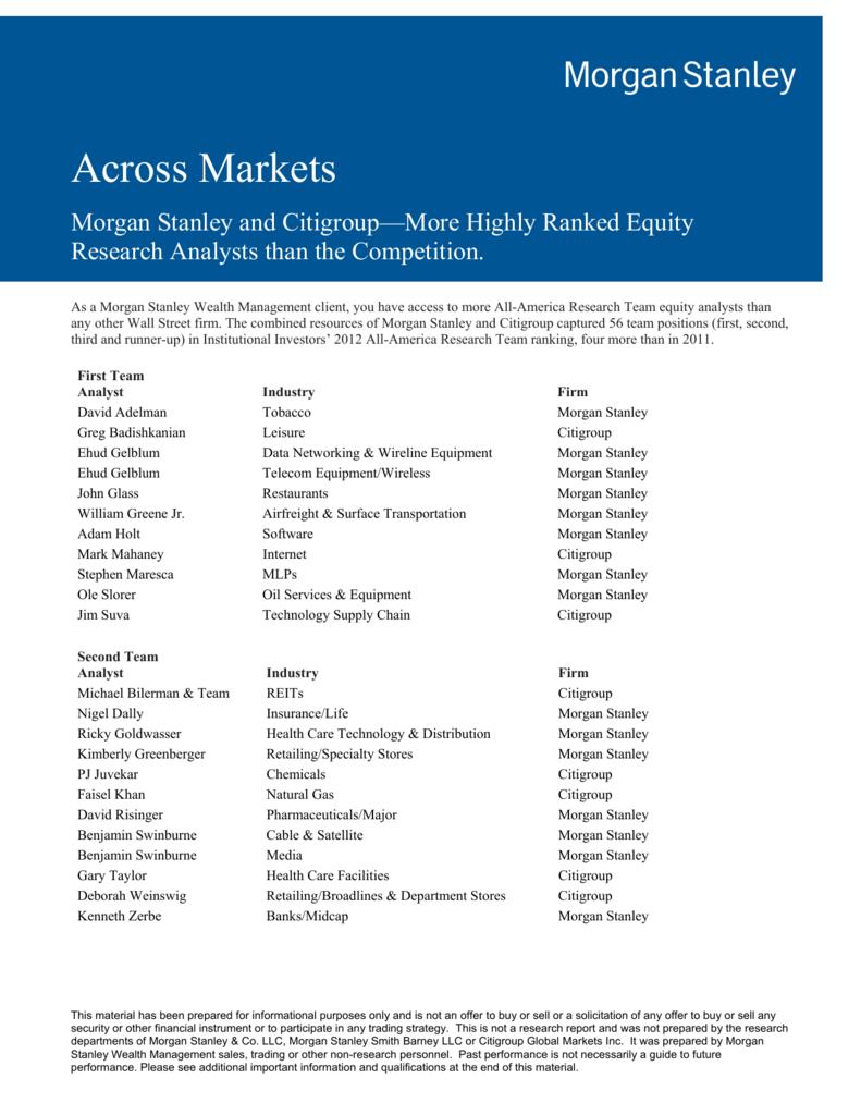 Across Markets - Morgan Stanley Locator