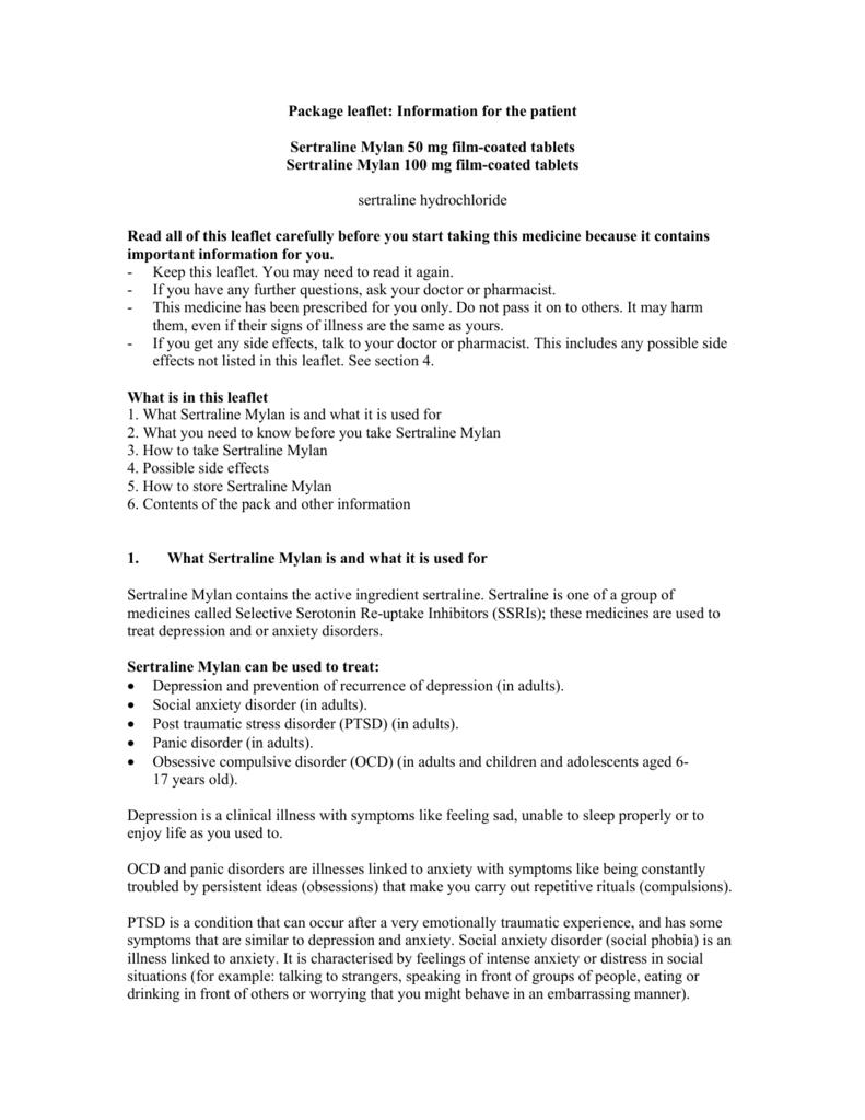 Information for the patient Sertraline Mylan 50 mg film