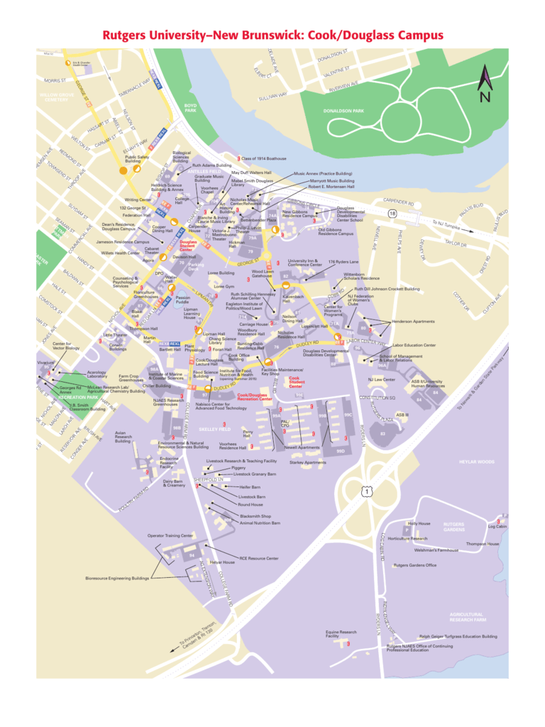 Rutgers Douglass Campus Map.Cook Douglass Campus University Maps