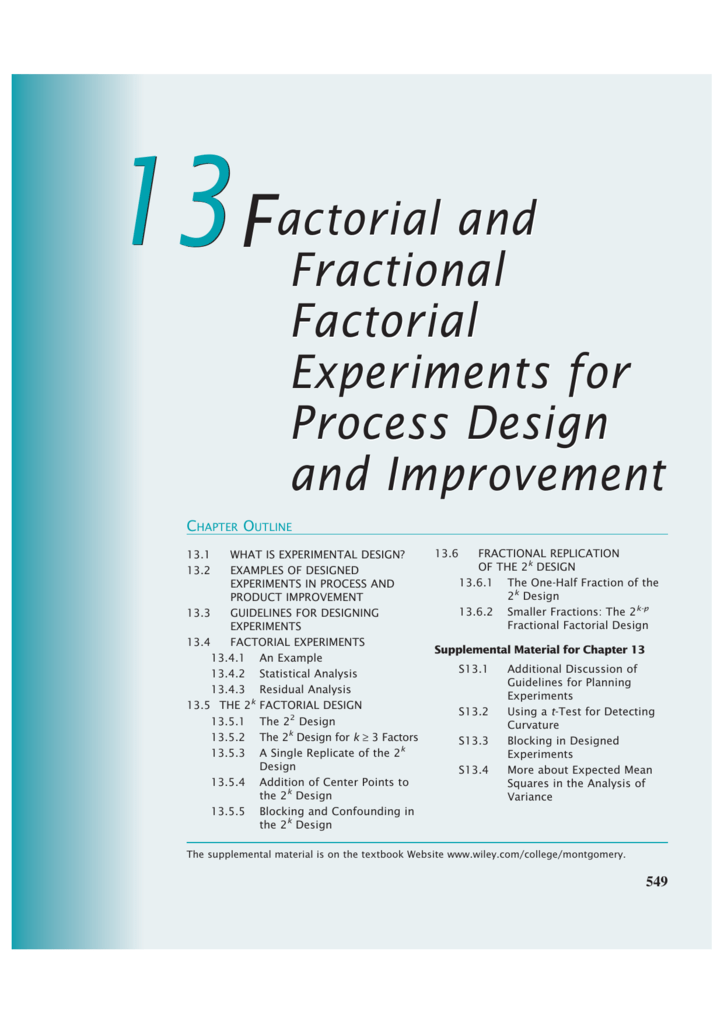 Factorial and Fractional Factorial Experiments for Process