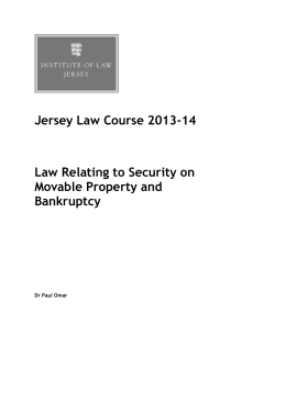 Jersey Law Course 2013-14 Law Relating to Security on Movable