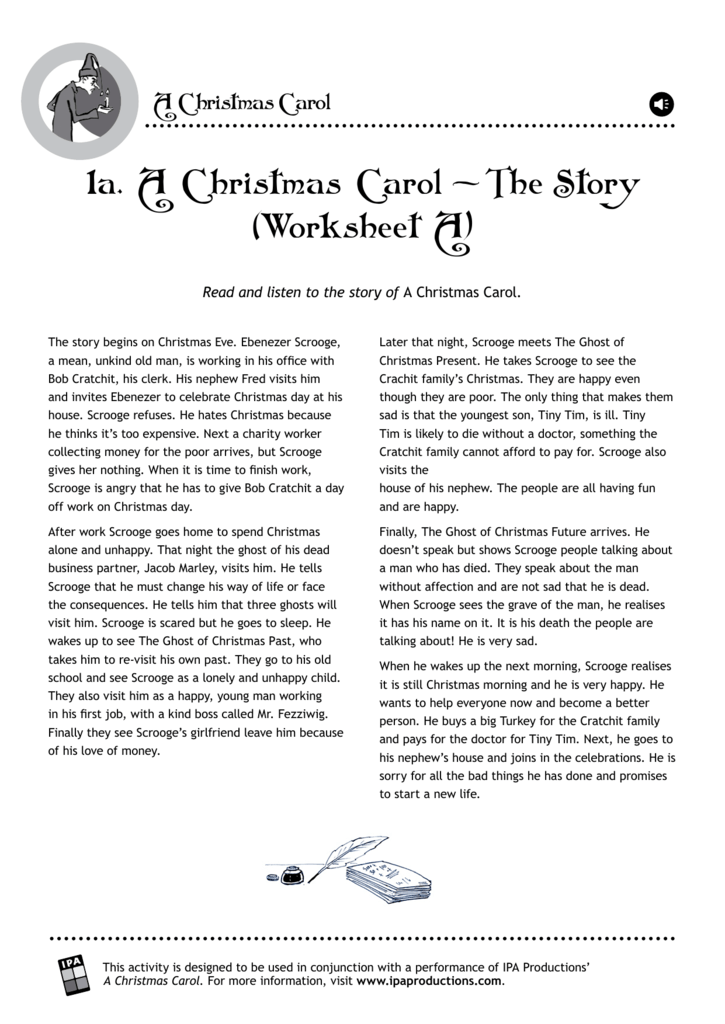 1a A Christmas Carol The Story Worksheet A
