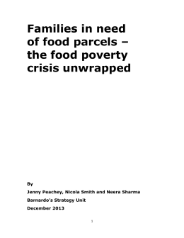 Families in need of food parcels – the food poverty