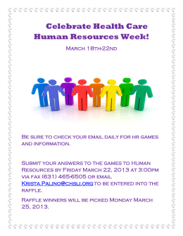 Celebrate Health Care Human Resources Week!