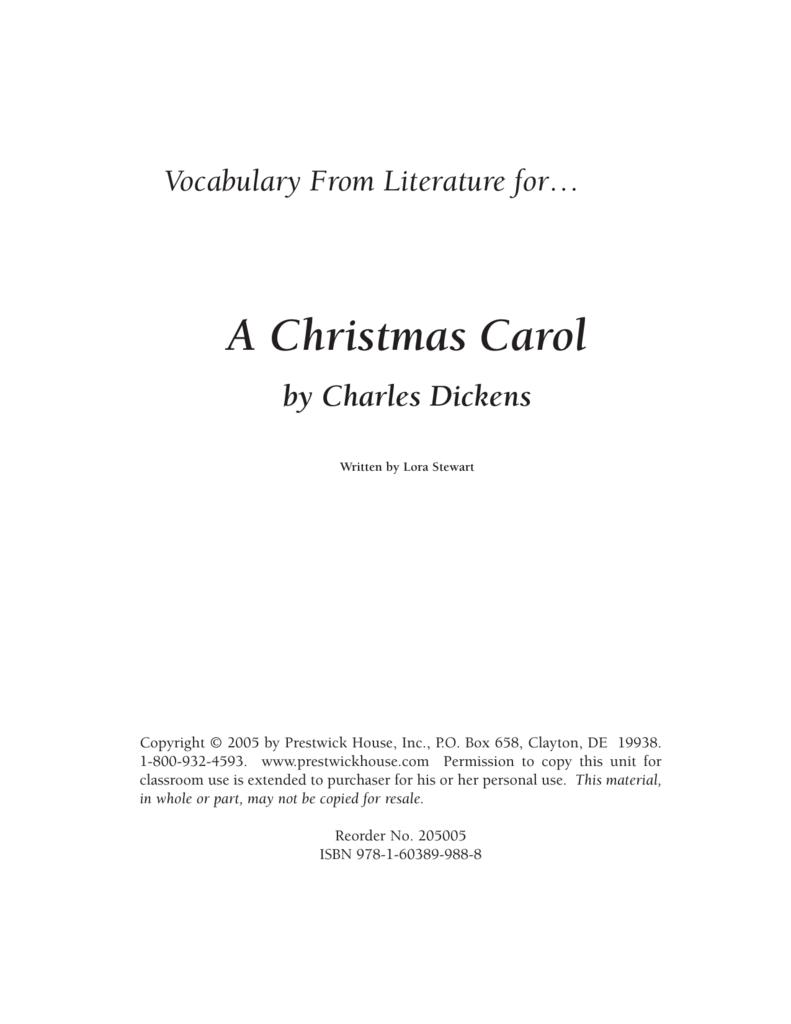 A Christmas Carol Pdf.A Christmas Carol Vocabulary From Literature Sample Pdf