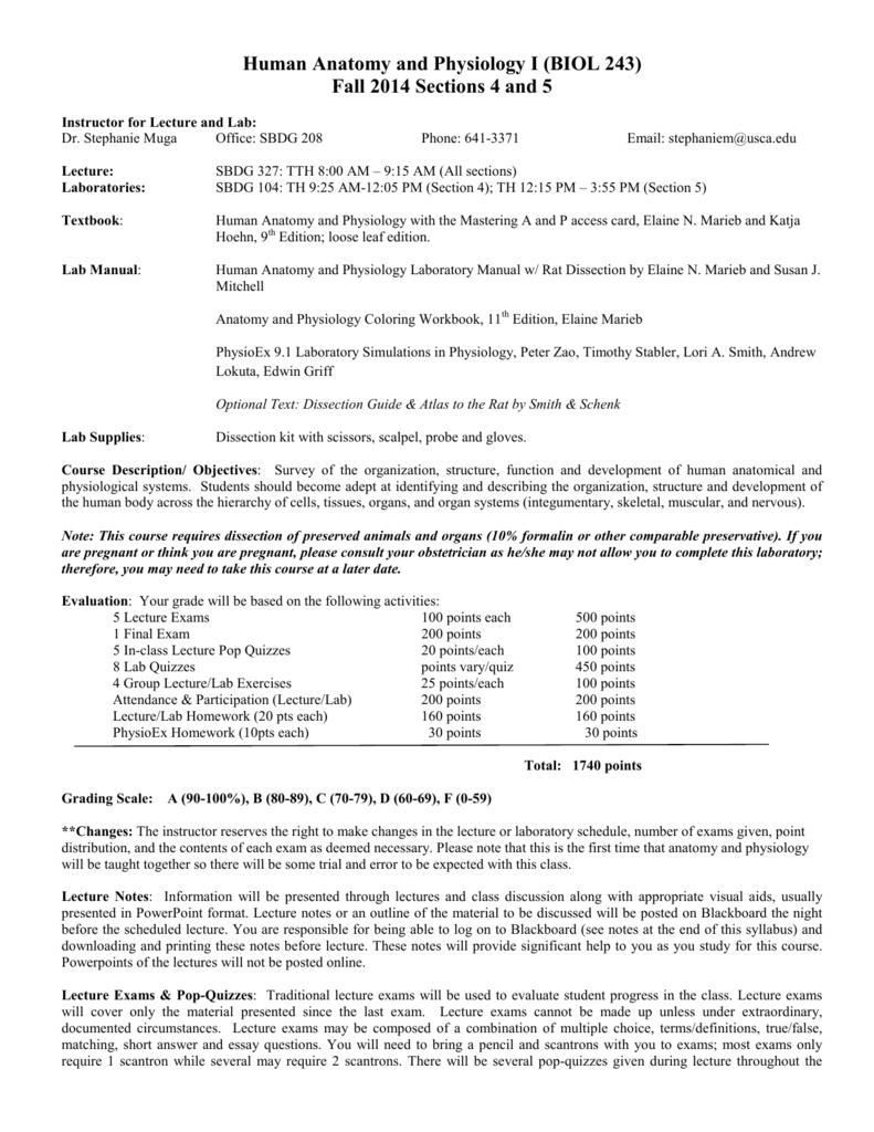 BIOL 243 Anatomy & Physiology I (Sec 4-5, Muga)