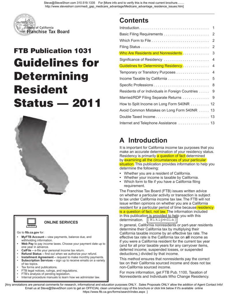 California Publication 1031 Guidelines For Determining Resident