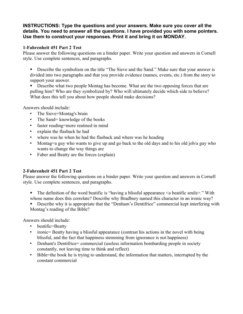 fahrenheit 451 study questions essay Fahrenheit 451 - essay - self-edit fahrenheit study questions for fahrenheit 451 study questions these fahrenheit 451 questions will help you to prepare for a.