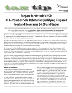 Prepare for Ontario's HST: Tax Tip #11 - Point-of-Sale
