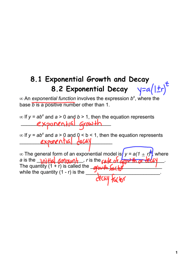 81 Exponential Growth And Decay 82 Exponential Decay