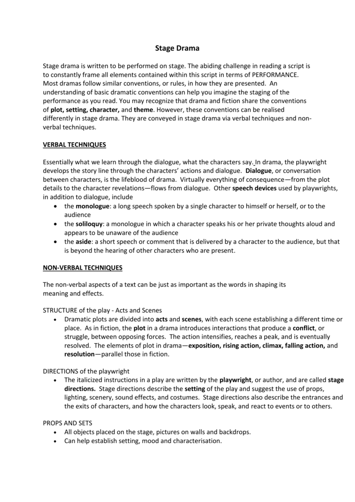 Stage Drama Notes