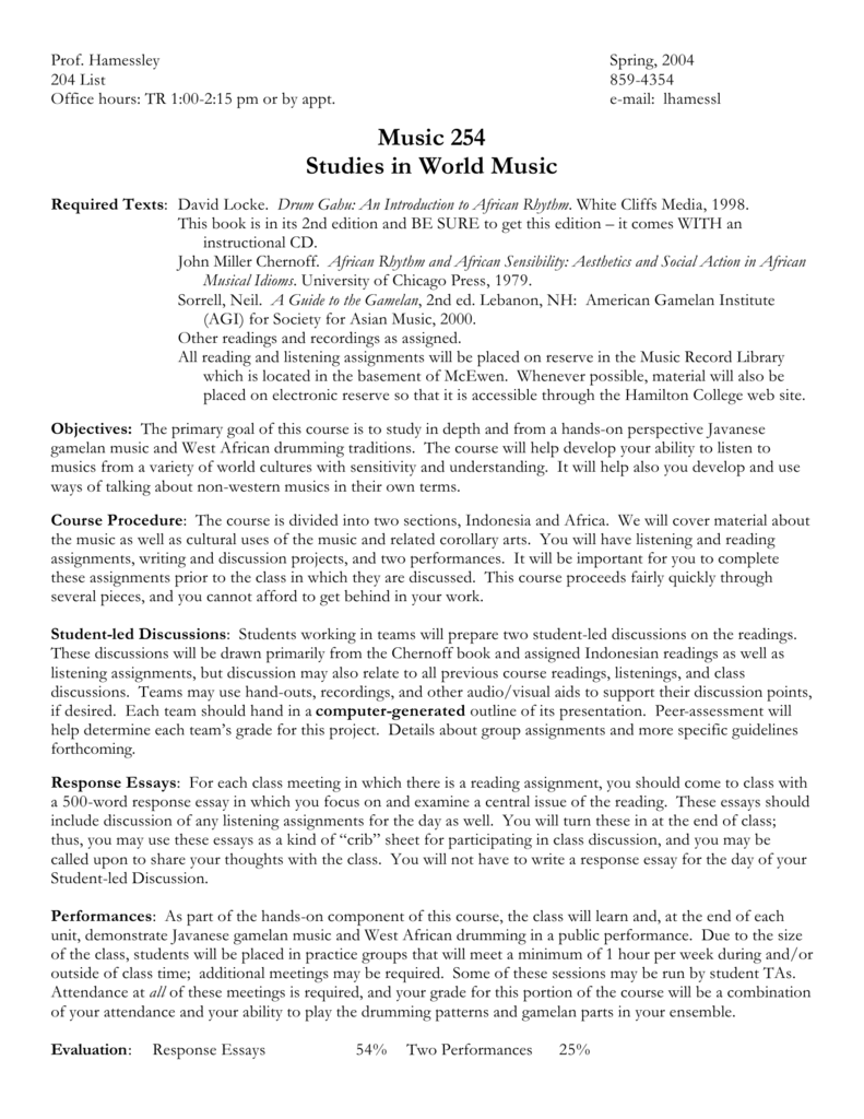 Music 254 Studies in World Music