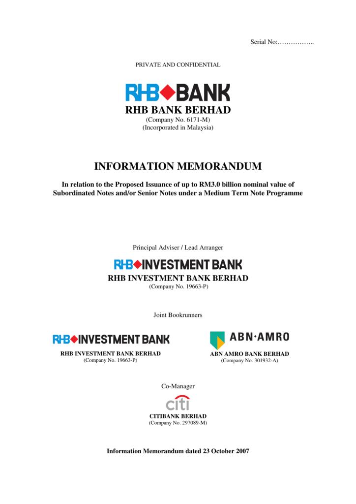 Rhb Bank Berhad Information Memorandum