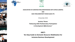 Ten Step Guide to Domestic Resource Mobilization for