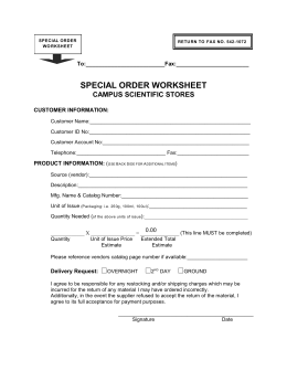 Campus Scientific Stores Special Order Worksheet