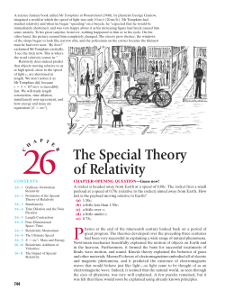 Ch 26) The Special Theory of Relativity