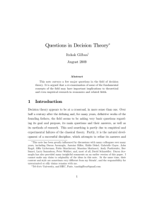 Questions in Decision Theory - Economic and Game Theory Page