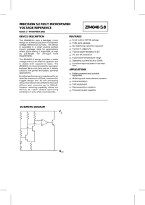 ZR4040-5 Precision 5.0 volt micropower voltage reference datasheet