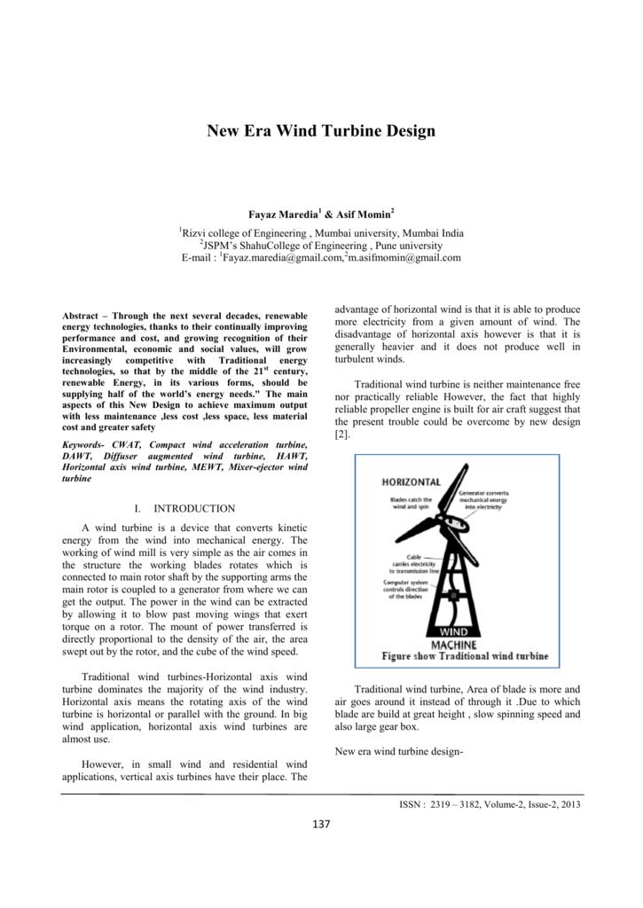 New Era Wind Turbine Design