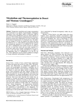 Metabolism and thermoregulation in desert and montane