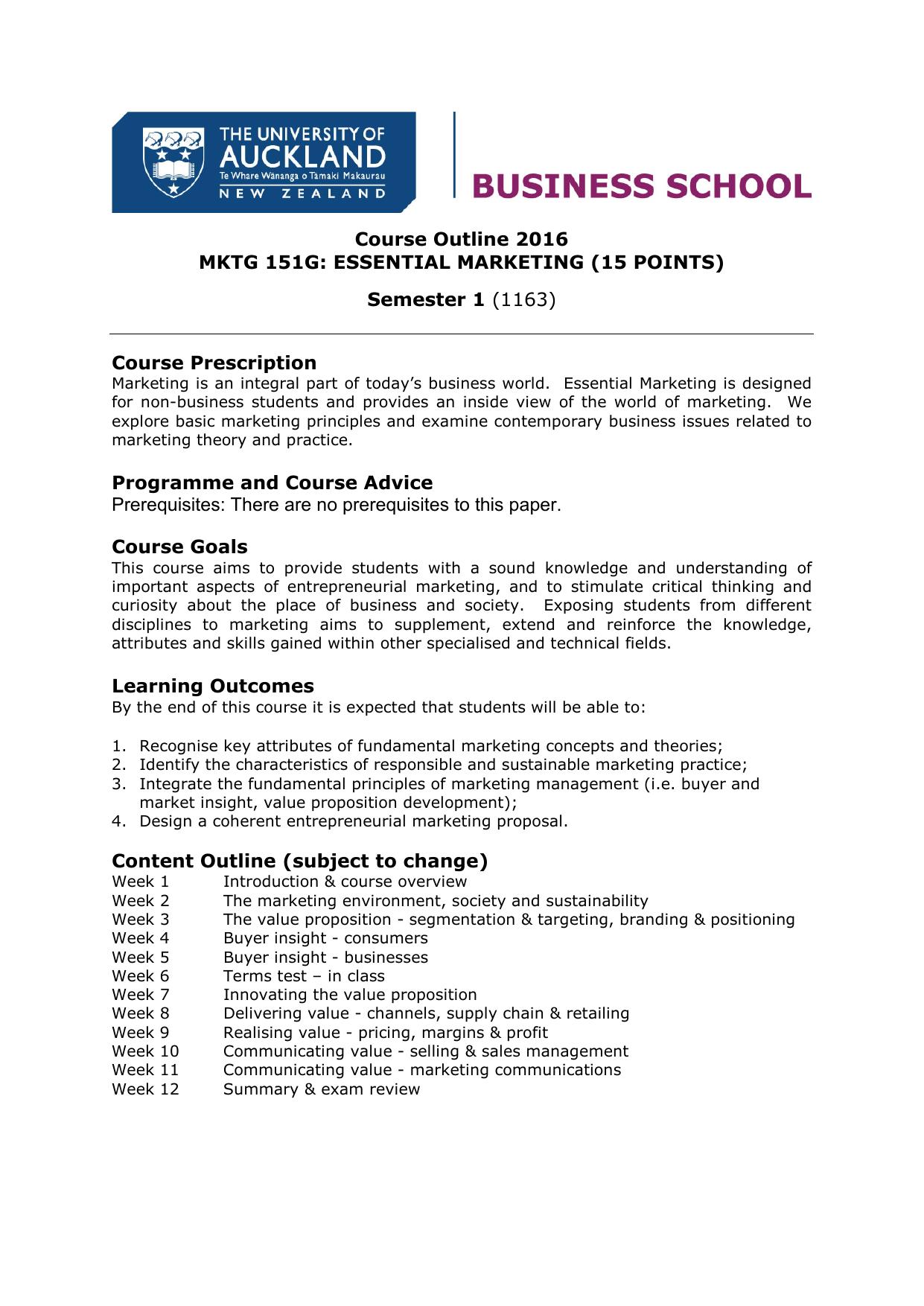 entrepreneurial marketing course outline