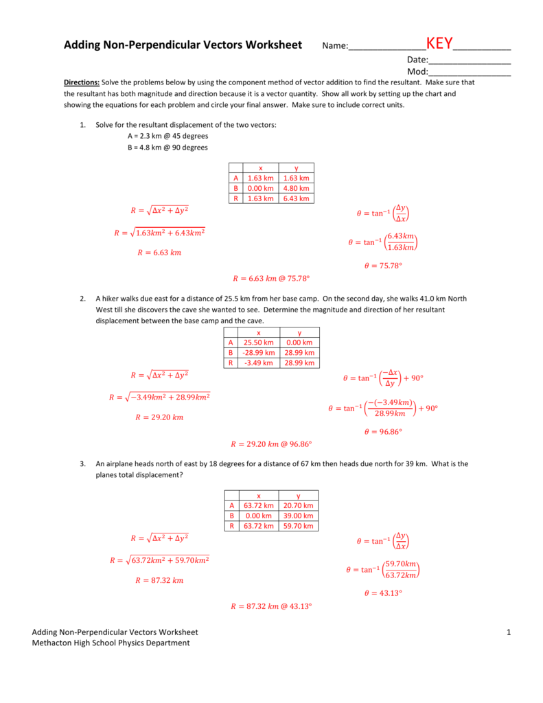 Adding non perpendicular vectors worksheet robcynllc Images