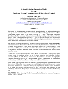 A Special Online Education Model for the Graduate Degree