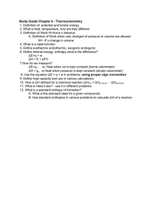 Study Guide Chapter 6 - Thermochemistry 1. Definition of potential