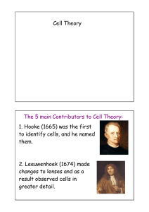 Cell Theory The 5 main Contributors to Cell Theory: 1. Hooke (1665