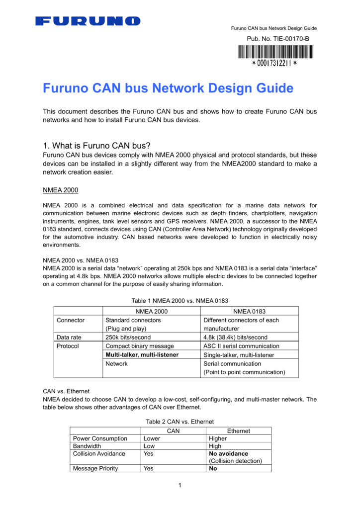 Furuno CAN Bus Network Design Guide