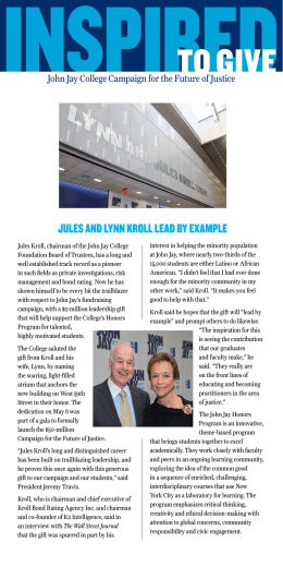 JULES AND LYNN KROLL LEAD BY ExAMPLE