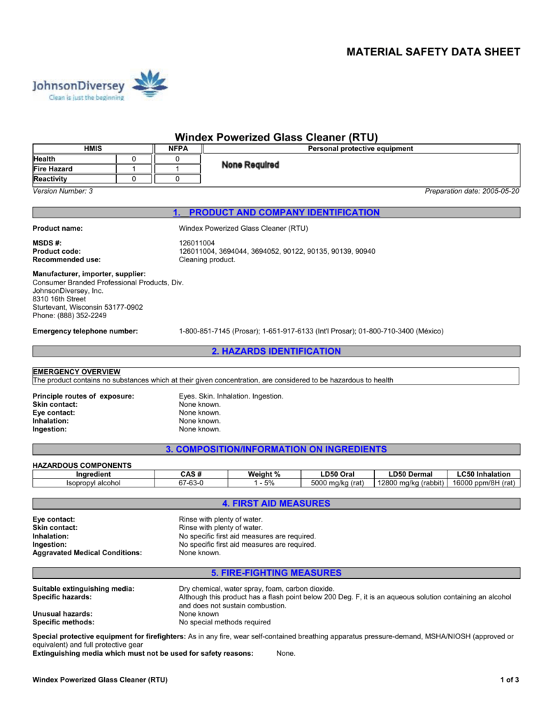 MATERIAL SAFETY DATA SHEET Windex Powerized Glass